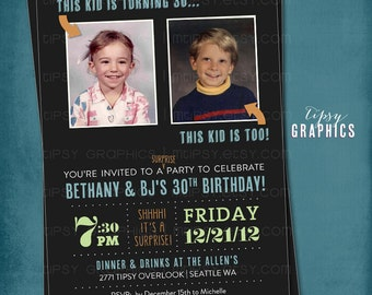 Joint Milestone Surprise Birthday Party Invite. Double Party.  Perfect with Old School Baby Photos by Tipsy Graphics. Any ages, any colors