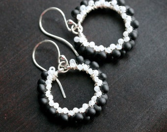 Black and white beaded earrings, seed bead earrings, sterling silver, drop earrings, wire wrapped jewelry, dangle hoop, Mimi Michele Jewelry