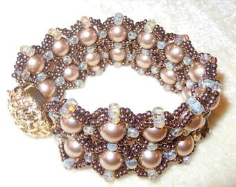 PATTERN Chain Reaction cuff bracelet pearls Rulla two hole