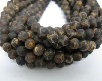 32 pcs 12mm round hand print smooth tibetan agate beads