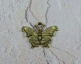 Antique gold color lead free pewter butterfly charm