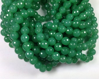 37 pcs 10mm round facted green color jade beads