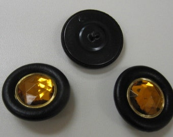 Black Leather-Covered Buttons with Jewel and Beaded Metal Center (60 line) Bag of 3