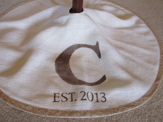 Personalized white burlap Christmas tree skirt