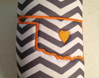 grey and orange chevron Oklahoma cozy . chevron. Oklahoma. Heart. Embroidery.