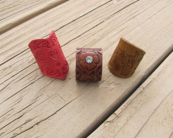 Trio of Handcrafted Artisan Boho Leather Rings