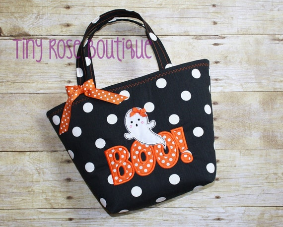 Boo Halloween Trick or Treat Tote Bag -  Ready To Ship