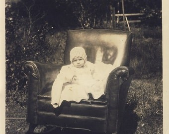 Baby Sitting on Fantastic LEATHER CHAIR in Back Yard Photo Circa 1920s