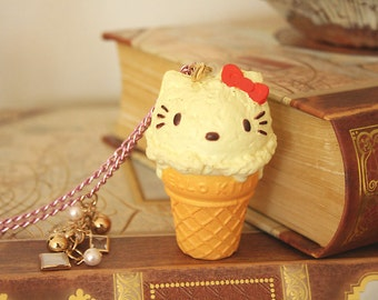 Kitty cat Ice cream cone necklace