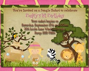 Jungle Safari Zoo Girl Birthday Invitation-Digtial File