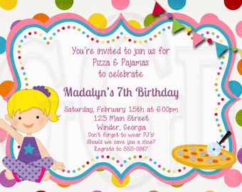 Pajama and Pizza Party Invitation  - Digital File
