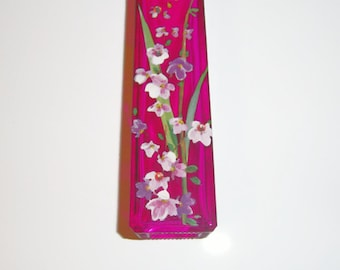 Fushia bud vase - pink and purple wisteria  - swarovski crystals
