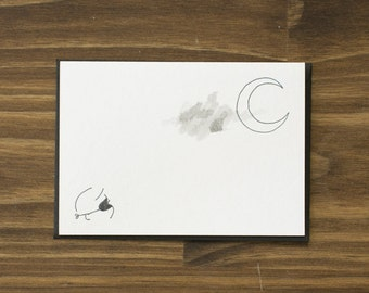 child and moon happy halloween card
