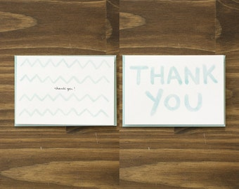 box of 8 variety pack watercolor blue thank you notecards
