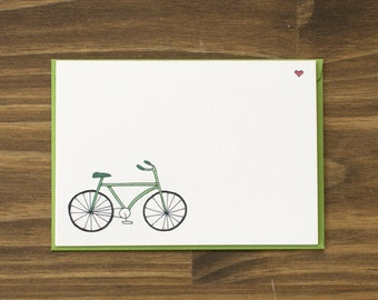 green bicycle blank note card