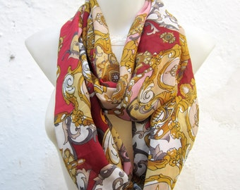 infinity scarf, Scarves, Loop scarf, Circle  Accessories, Chiffon Shawl, Women Neck Warmer, Tube Necklace, Cowl, Red, Pink, Yellow