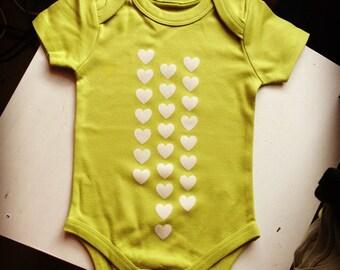 SALE - Organic Baby Raining Heart One Piece / Bodysuit