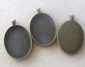 Antiqued Oval Brass Bezel Trays Setting Blanks Findings Designs Jewelry Necklaces (1)