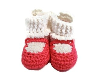 Bright Pink Mary Jane Crochet Soft Booties Shoes for Infant Baby with Pearl Button in Size 6 Months Crocheted Baby Girl Shower Present Gift