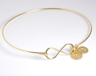 Infinity bangle bracelet, 14K gold filled bracelet, personalized jewelry, with two hand stamped initials