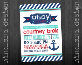 AHOY it's a BOY Invite Nautical Baby Shower -- Digital You Print or Printed for you