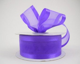 Purple organza satin edge ribbon 1.5 inches, Wedding, Special Occasion, Crafts, DIY bridal 1 yard