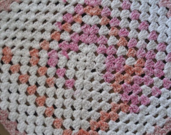 Crocheted Pet Blanket - Multicolor - White/Pink/Orange