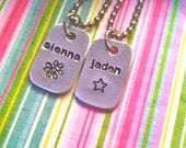 SALE---Tiny Tags...Boys or Girls Name necklace-GREAT for stocking stuffers, gifts, party favors and more...