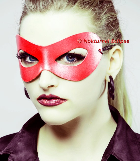 Red Superhero Adult Leather Mask Masquerade Handcrafted Mardi Gras Party Halloween Comic Con Cosplay Costume UNISEX