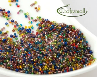 Glass seed beads 2mm - size 12/0 beads - assorted colors - 45g (about 900 beads) SEED-A005-2MM