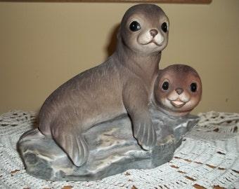 Vintage Homco Masterpiece Porcelain Seal Figurine