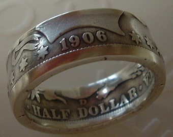 1906 Silver Barber Half Dollar Coin Ring  (90% Silver) (Available in sizes 8.5 through 12)