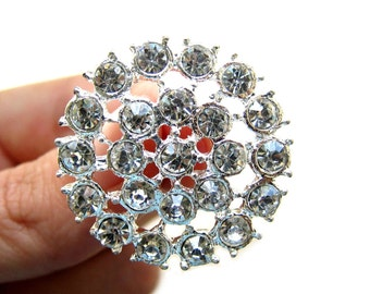 5 Crystal Rhinestone Buttons for Wedding Decoration Invitation Card Ring Pillow Gift Box Scrapbooking RB-026 (27mm or 1.1 inch)