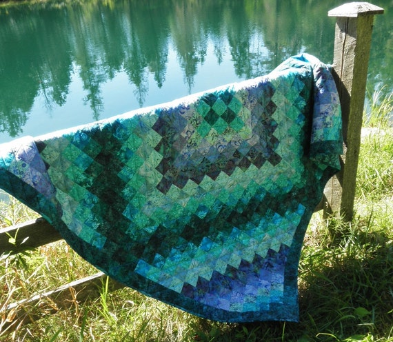 Lap Quilt in Shades of Teal and Lavender