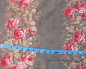 PAPILLON Pink ROSES DOUBLE Border -Moda 3 Sisters -butterfly  Romantic shabby chic Dark grey  red 1 yard