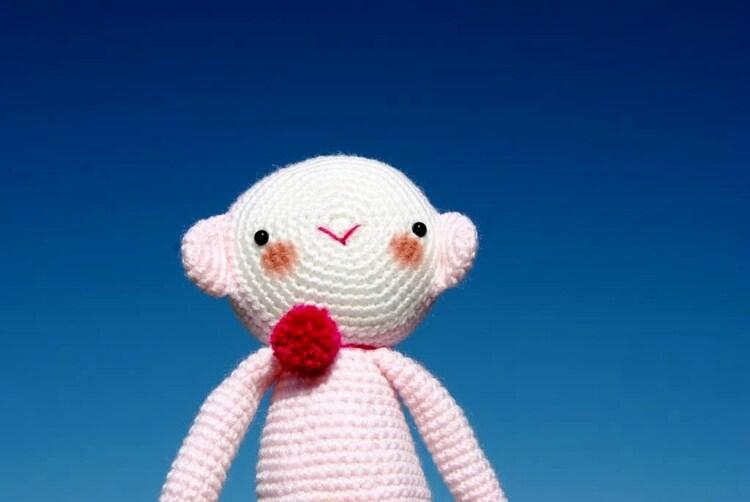 Amigurumi Big Monkey : Amigurumi // Big Pastel Pink Monkey with a red by avoiretc ...