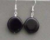 Dangle Earrings, Black DIsc Bead Earrings, Silver and Black Earrings