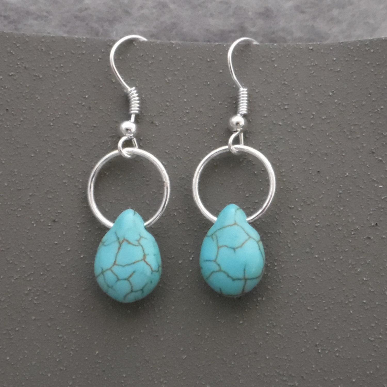 Dangle Earrings Turquoise Hoop Earrings Silver And Turquoise
