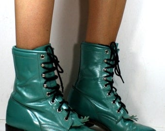 Vintage grunge granny COMBAT barn boot riding justin womens blue green cowboy USA western oxford pixie lace up 6 M B