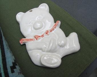 Ceramic Teddy Bear Gift Tag Wall Art Handmade Sculpture Pottery