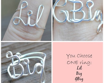 ONE RING Sorority Big, Little, GBig Wire Wrapped Word Ring Adjustable