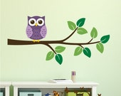 Owl on branch vinyl decal -  Vinyl Wall Decal, nursery, kids room, removable wall decal set, Nursery decor
