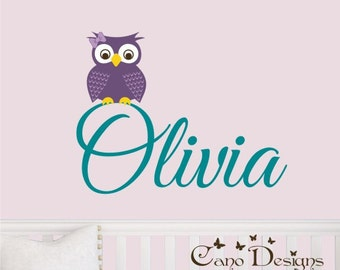 Personalized Name With Owl, Custom Vinyl wall decals stickers, nursery, kids & teens room, removable decals stickers