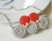 grey / coral kuklos necklace