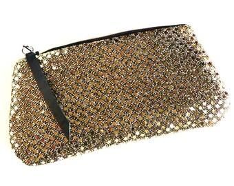 Golden Lights on Black Clutch, Sequin Zipper Clutch Purse