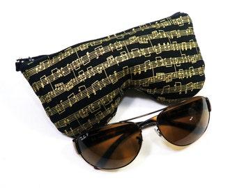 Golden Musical Notes Sun Glasses Case. Eyeglass Case. Eyeglass Pouch. Reading Glasses Case Curves Eyeglasses Pouch