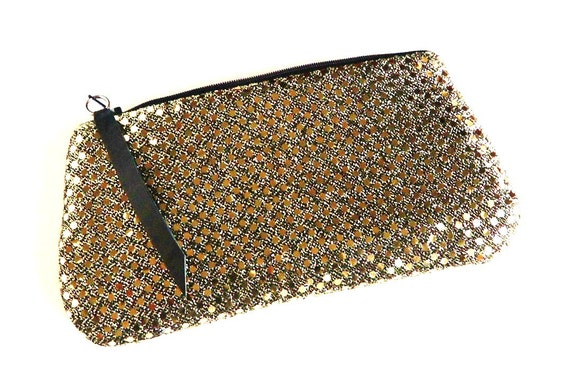 Golden Lights on Black Clutch, Sequin Zipper Clutch Purse