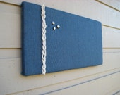 Bulletin Board in Navy Blue Burlap accented with white knotted macrame cording for a Nautical styled decor