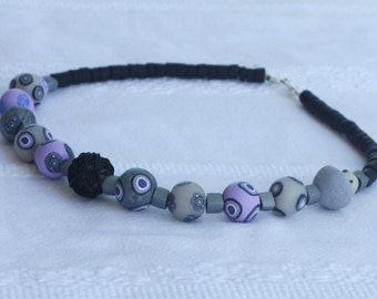 Beaded necklace in purple and gray, polymer clay