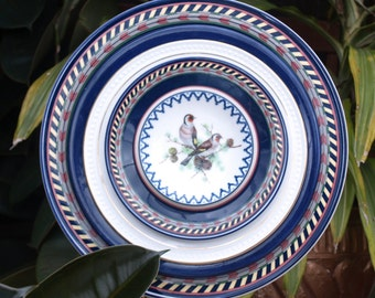 Navy Blue Birds Repurpose Glass Plate Flower vintage